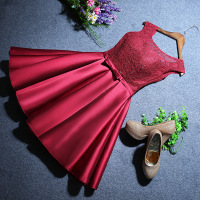 It's YiiYa Red Illusion Backless Lace Up Taffeta Draped Dinner Dress Cocktail Dresses Knee Length Formal Dress Party Gown LX112
