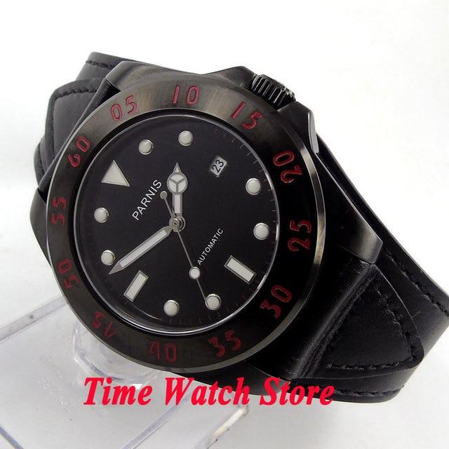 98c69a644ef Parnis 43mm black dial luminous 10ATM MIYOTA vidro de safira PVD caso  pulseira de couro preto