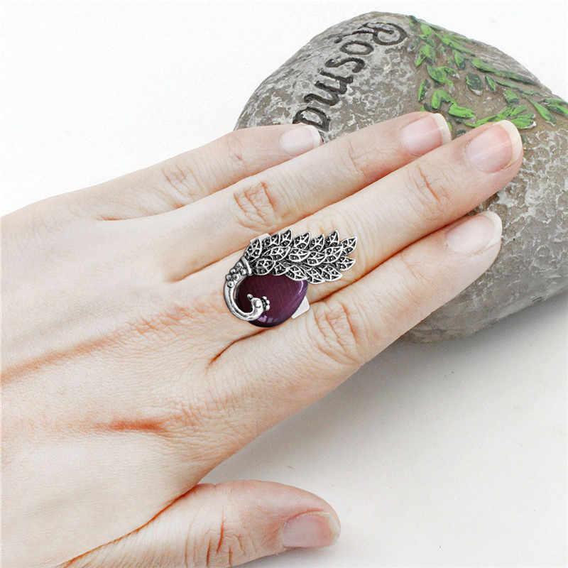 Падение опал Павлин Ювелирные наборы Серьги кольцо для Для женщин антикварной посеребренные моды подарок TS359