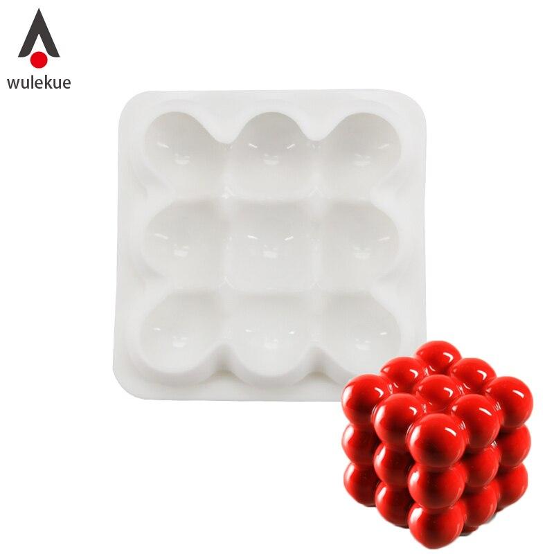 Wulekue Silicone 3x3 Spheres Geometric Desserts Mold For Chocolate Mousse Chiffon Cake Decorating Baking Tools