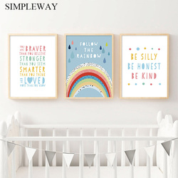 Rainbow Nursery Wall Art Child Poster Canvas Wall Art Print Simple Quotes Painting Decorative Picture Baby Kids Bedroom Decor