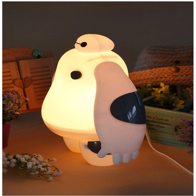 Big Hero 6 LED Baymax Night Light Cute Cartoon White Desk Lamp Bedroom Decoration for kids gift 150804 6 inch 16cm big hero 6 baymax robot action figure cartoon movie baymax removable armor 2015 new holiday gift kids toys