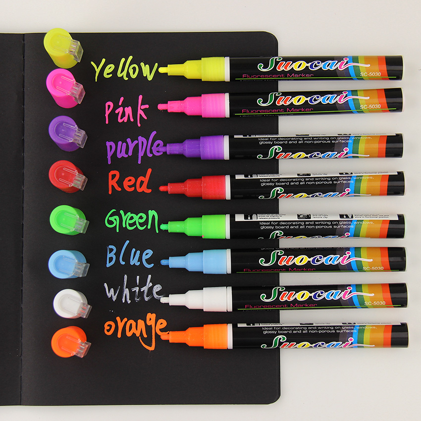 1 PC Liquid Chalk Marker Pens Erasable Multi Colored Highlighters LED Writing Board Glass Window Art 8 Colours Marker Pens