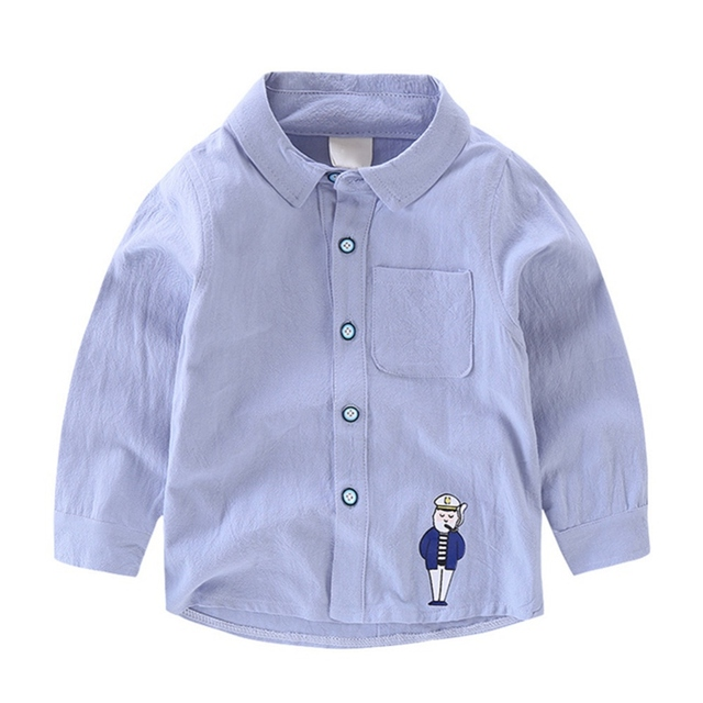 5188d1a0 Spring Autumn Toddler Boy Cute Cartoon Pattern Casual Cotton Long Sleeve  Button Down Shirts Tops