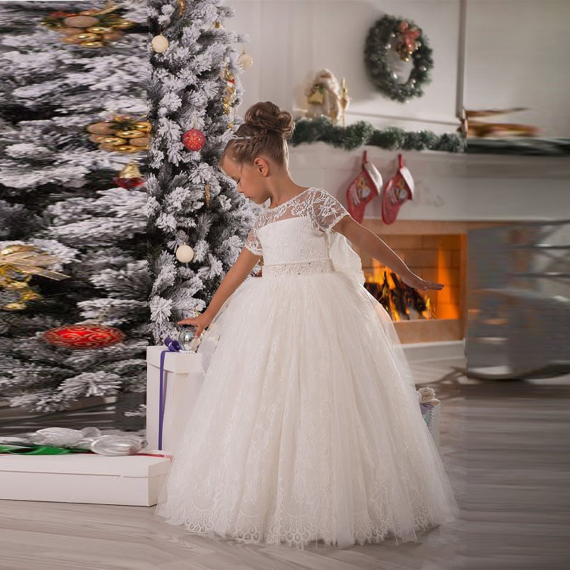 Gorgeous Pageant   Dresses   For Little   Girls   Short Sleeve kids prom   dresses   first communion   dresses   for   girls     Flower     Girl     Dresses