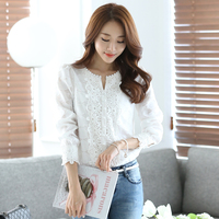 2017 New Autumn Casual Basic Women Lace Chiffon Blouse Shirts Solid Tops 2 Colors Blusas Long