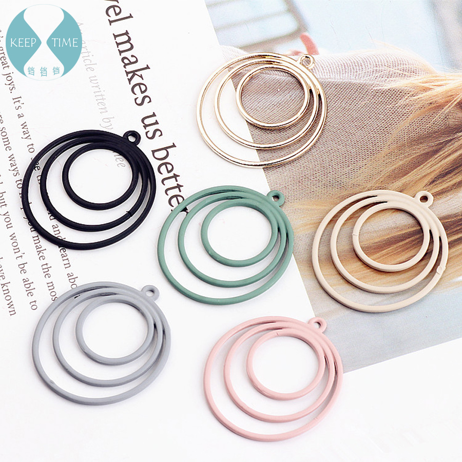 DIY handmade jewelry accessories alloy round circle earrings 3 pendant material overlap