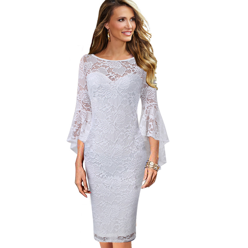 Vintage Wedding Dresses With Bell Sleeves: Vfemage Womens Vintage Full Floral Lace Flare Bell Sleeves