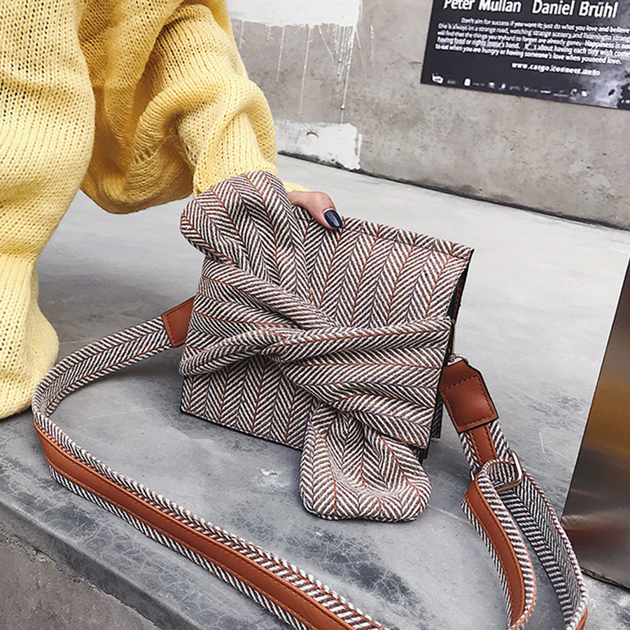 Bownot Women Single Shoulder Bags 2018 Fashion Plaid Women Messenger Bag Winter Wool Females Crossbody Bag Small Girls Flag Bags fashion flag pattern and zip design crossbody bag for women