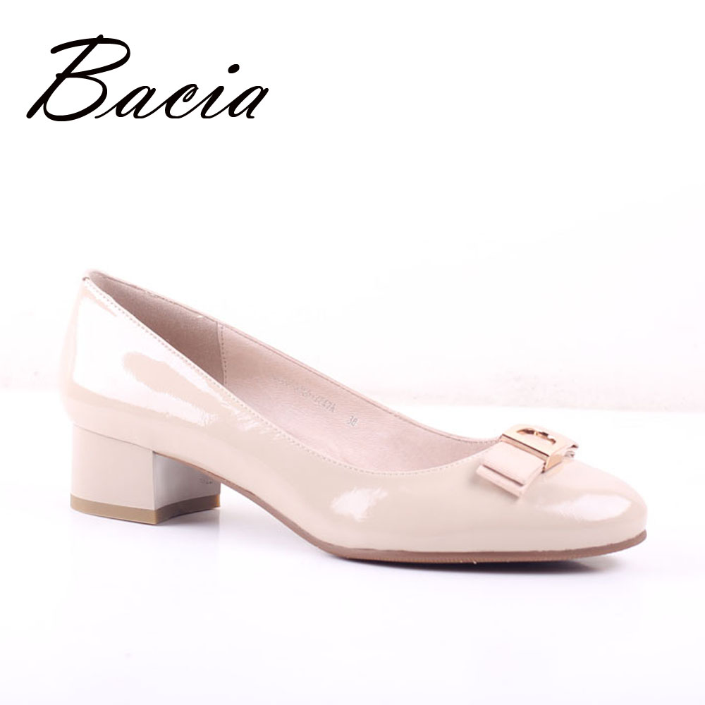 Bacia Apricot Sheepskin pumps Low Heels Wrinkle Leather Shoes Thick Heel Round Toe Pumps Size 35-41 Summer Fashion Shoes SA061 women s casual genuine leather shoes sheepskin block low heels pumps round adornment brown black low heels shoes for women