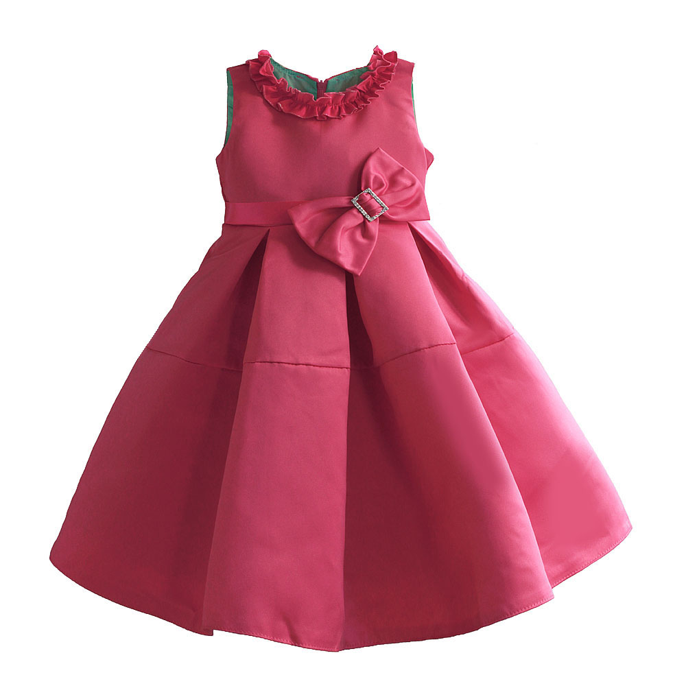 Girls Dress Ruffle Collar Summer Princess Party Dresses Super Bow Christmas Wedding Pageant Children Clothes Size 3-8 new christmas flower girls dress lace embroidery trumpet wedding pageant birthday summer princess party dresses clothes 3 12yrs