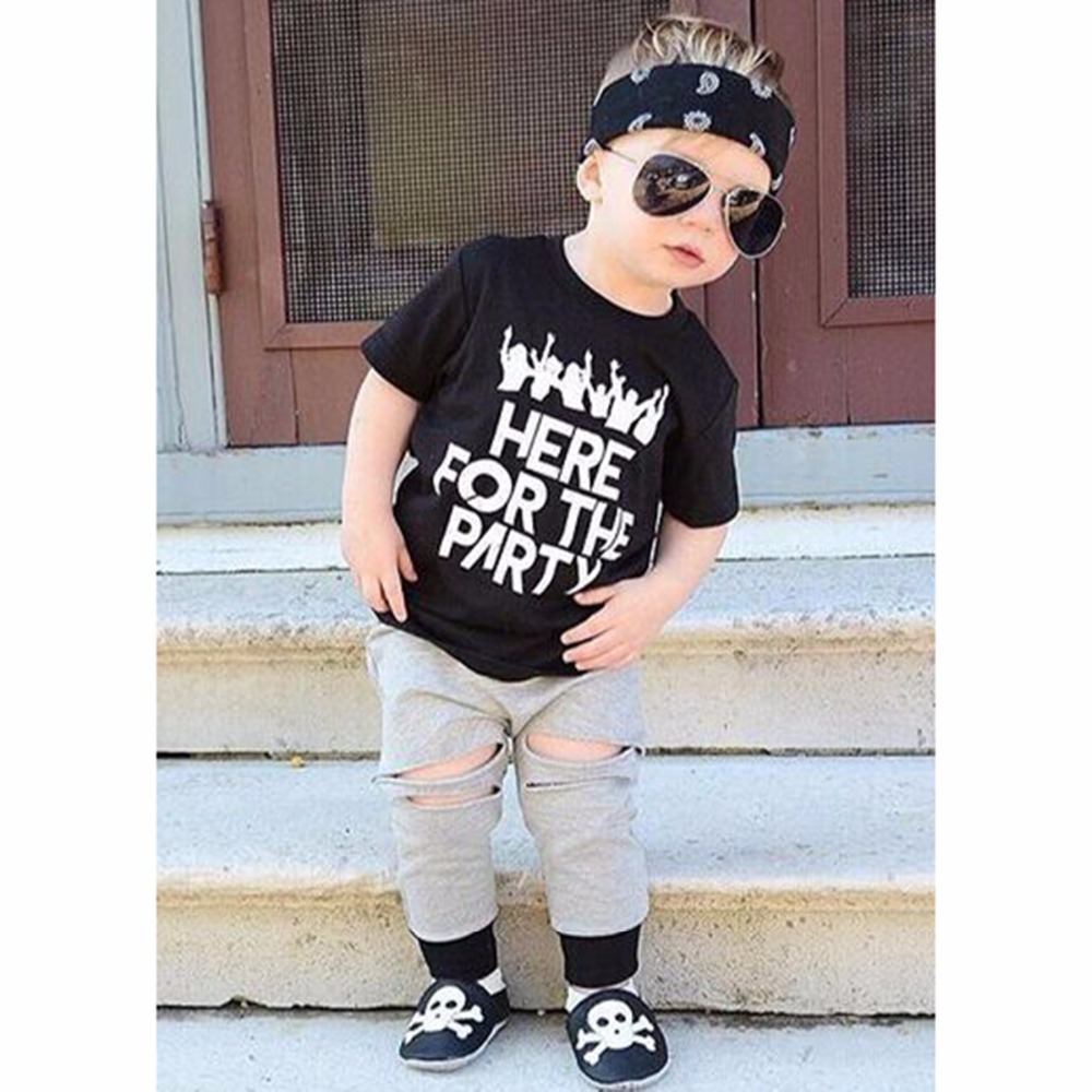 7c7b2d2347175 Puseky Baby Boy 2pcs Clothing Set Casual Bebe Boy Hip Hop Style Short  Sleeve Tops +Hole Long Pants Outfits Toddler Clothes 1 6T-in Clothing Sets  from Mother ...