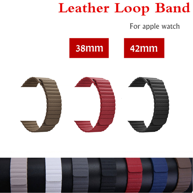 Leather loop strap For apple watch band 42mm/38mm iWatch 3/2/1 bracelet watchband Magnetic Closure wrist belt watch accessories