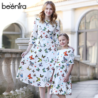 Beenira Party Dress 2017 Beautiful Butterfly Print Family Matching Outfits Mother Or Daughter Dress Half Sleeve