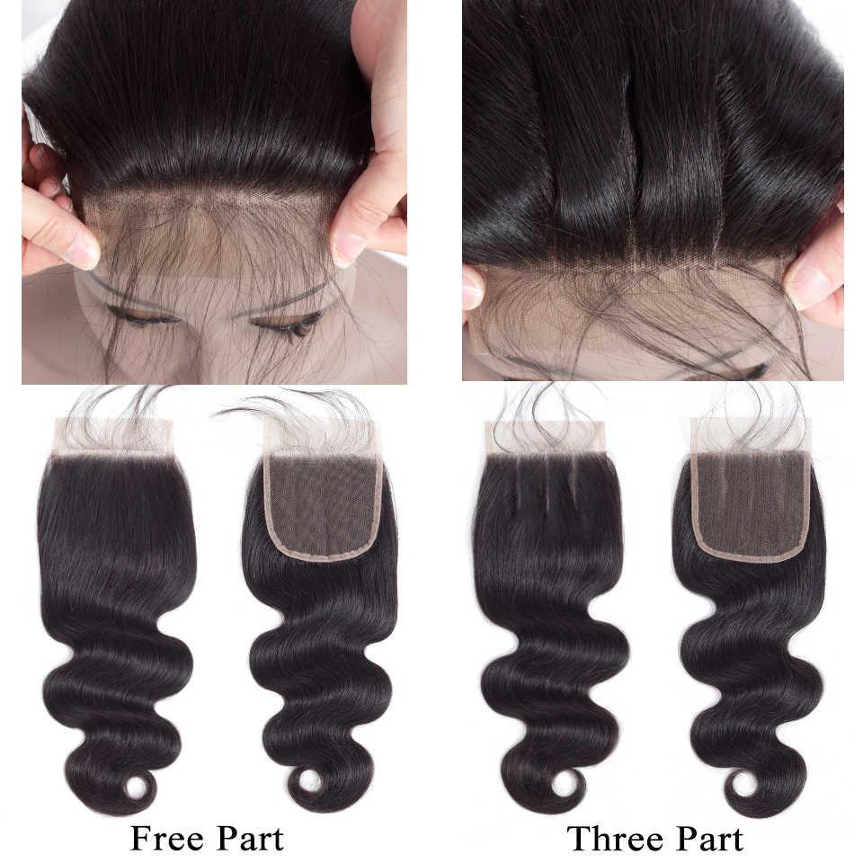 QueenLike produkty do włosów brazylijski ciało fala z zamknięciem nie Remy doczepiane włosy tkactwo 3 4 wiązki wiązki ludzkich włosów z zamknięciem