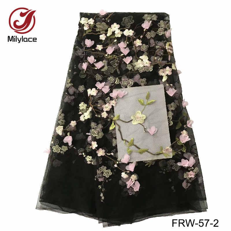 Fancy ấn độ pháp vải ren 3d hoa ánh sáng lưới ren vải 5 bãi trên mỗi lô màu hồng ren lưới FRW-57