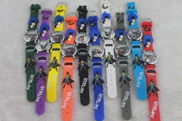 Free Shipping 15pcs/lot Wholesales Hot Sales High Quality 3D Cartoon Batman Kids Students Gifts Watch Quartz Silicone Wristwatch