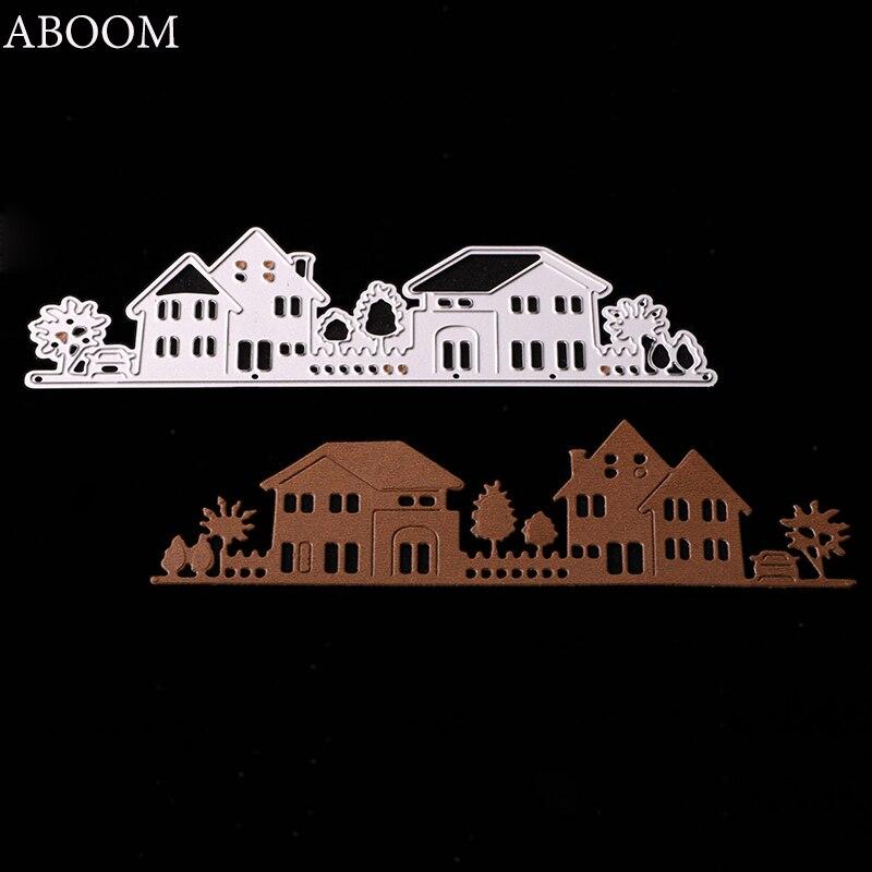 ABOOM New Warm House Villa Cutting Dies Metal For Scrapbooking Album Embossing Paper Cards Fun DIY Gift Halloween Card Template