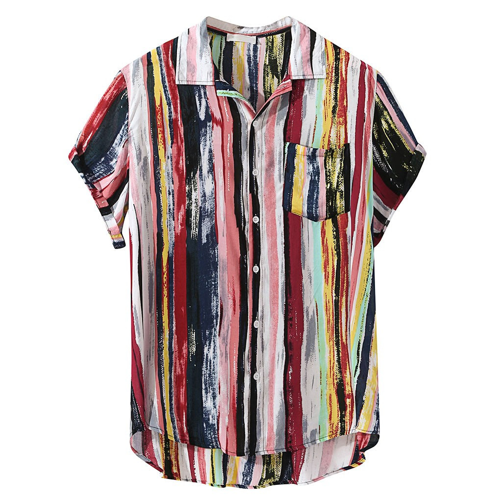 2019 New Fashion High Quality Men Luxury Stylish Mens Multi Color Lump Chest Pocket Short Sleeve Round Hem Loose Shirts Blouse
