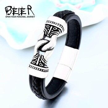 c1df839747a9 BEIER 17 cm-25 cm runa pulsera nórdico vikingo Celtics martillo de pulsera  de cuero abrigo brazalete amuleto talismán de BC-L034