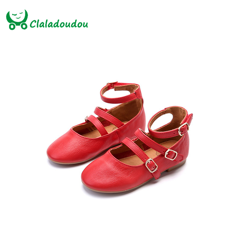 ФОТО Claladoudou Gilrs Wedges Shoes Genuine Leather High Ankle Ladies Dance Shoes Spring Autumn Princess Party Dress Shoes For 4-10Y