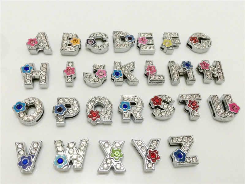 """8mm diy 전체 라인 석 꽃 슬라이드 편지 """"A-Z"""" 편지 자유롭게 선택 8mm diy 벨트 팔찌 sl14"""