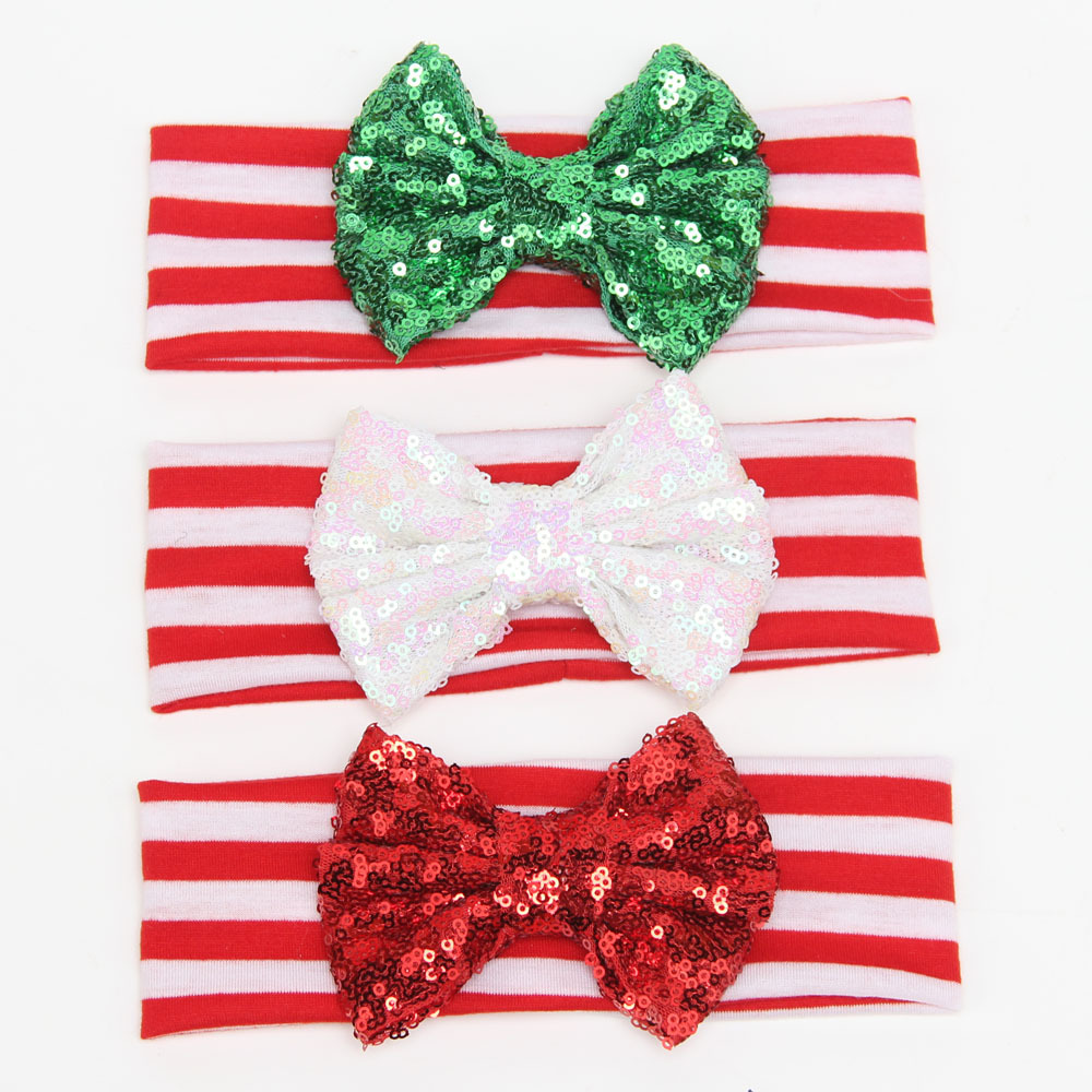 2016 Baby Girl Christmas Headband Red White Stripe With Glitter Bow Tie