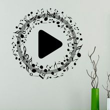 Musical Notes Wall Sticker Music Play Button Decal New Design Murals Home Decor Vinyl AY1255