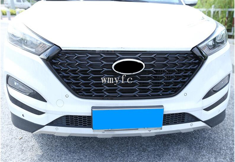 Car Racing Grill For Car Racing Grill For Hyundai Tucson 2015 2018 Grille Emblems ABS Radiator Chrome Mesh Decoration Fro