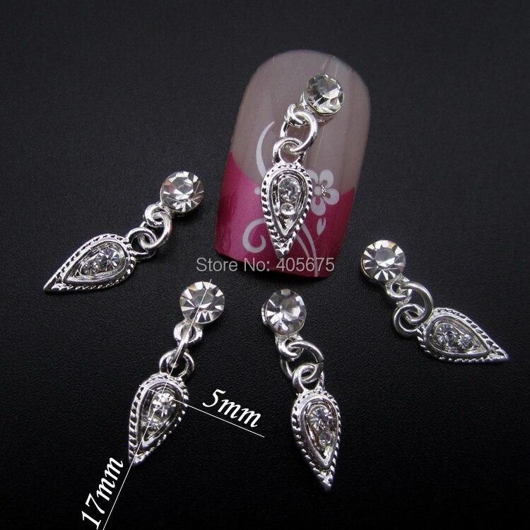 Кристальный, серебряный, со стразами 3d сплав кулон для украшения ногтей Дизайн ногтей ювелирных изделий MNS792