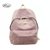 New Seven Colors Solid Corduroy Backpack Simple Women Backpack College Style School Bags For Teenager Girls