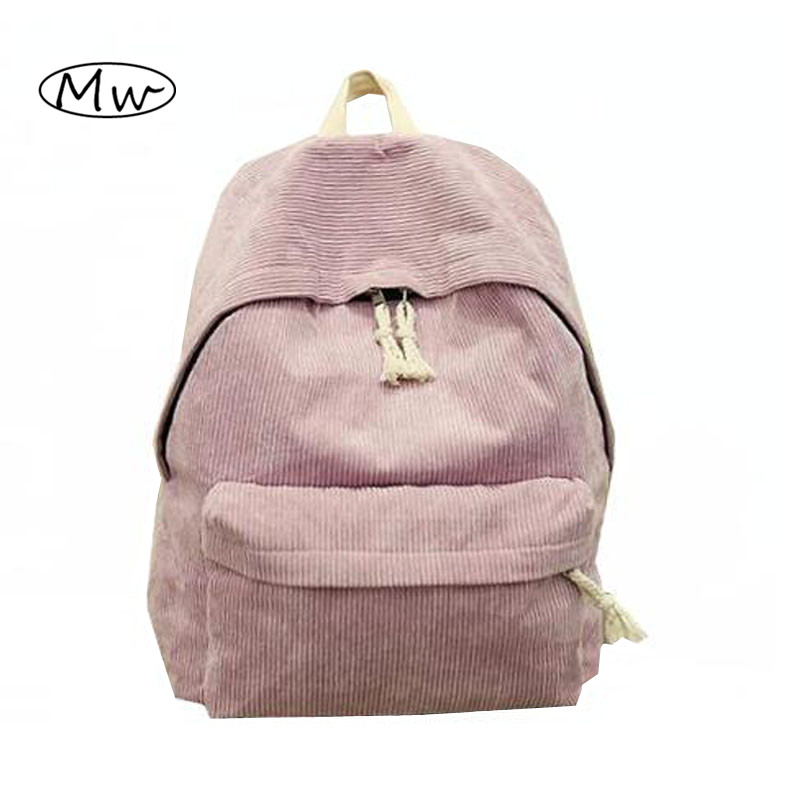 New Seven Colors Solid Corduroy Backpack Simple Women Backpack College Style School Bags For Teenager Girls Casual Travel Bag corduroy goes to school