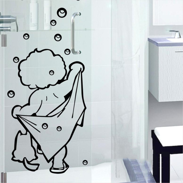 I love shower wall stickers bathroom glass window bublle love shower door stickers cute children shower
