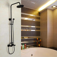 Free shipping Home Decoration Oil Rubbed Bronze Black Rain Shower Set Bathroom Wall Mounted Shower Faucet Set Wholesale GI275