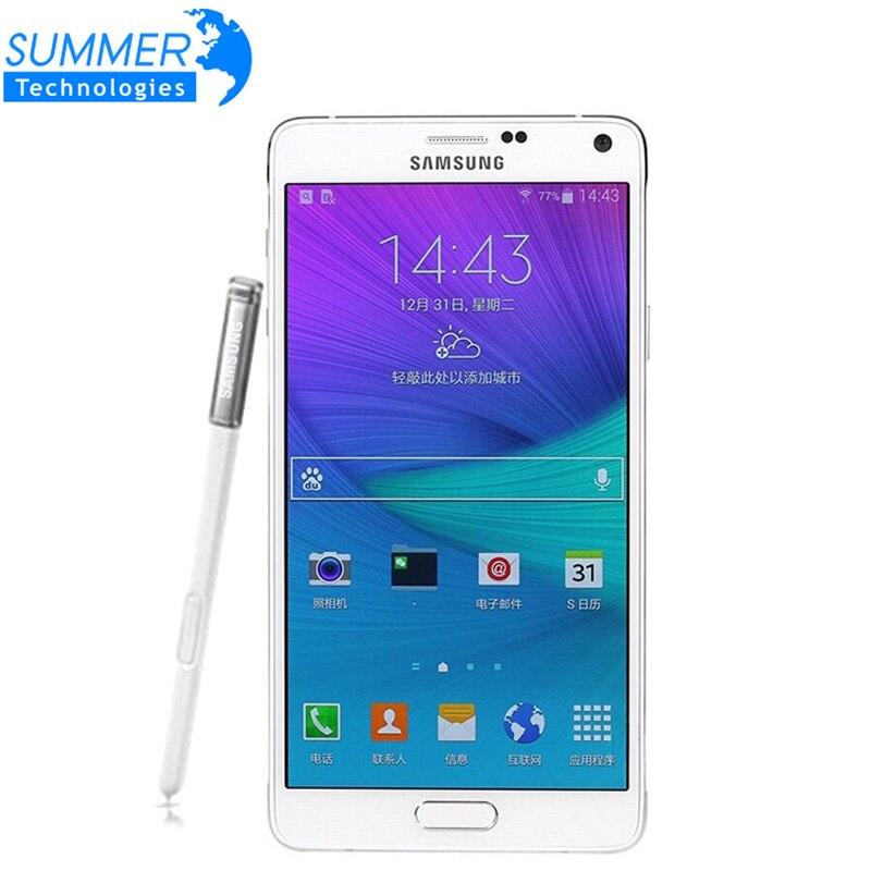 Оригинальный разблокирована samsung Galaxy Note 4 мобильный телефон N9100 N910 Snapdragon 805 LTE 5,7 16 ГБ Встроенная память 3 ГБ Оперативная память NFC WLAN смартфон