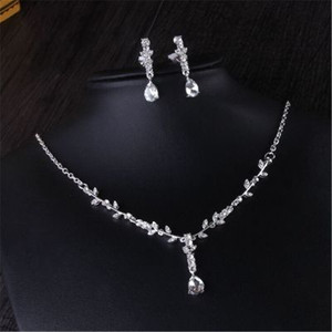 Image 2 - CC Wedding Engagement Jewelry Necklace Earrings Bracelets 2Pcs Sets Bridal Hair Accessories For Cubic Zircon Pearl Charm m011
