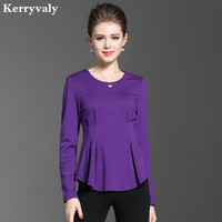 Ladies Autumn Purple T Shirt Womens Tops And Blouses Blusas Mujer De Moda 2017 Long Sleeves