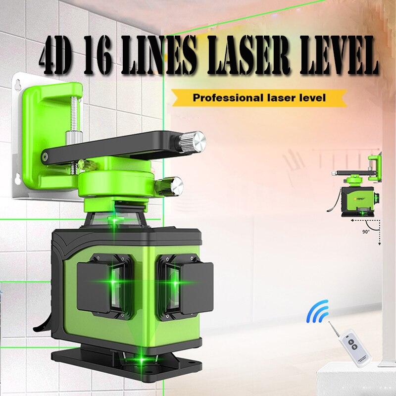 Nível laser de linha 4D 16 FERMENTO 360 Vertical E Horizontal Nível de Auto-nivelamento A Laser Linha Cruzada 4D Laser Verde nível com ao ar livre