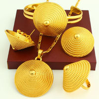NEW Ethiopian Wedding Bridal Jewelry Set 24K Gold Plated Necklace Earring Ring Bangle Pendant Jewelry African