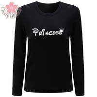 Cherry Blossom Women T Shirt O Neck Long Sleeve T Shirt Princess Letter Print Tshirt Casual