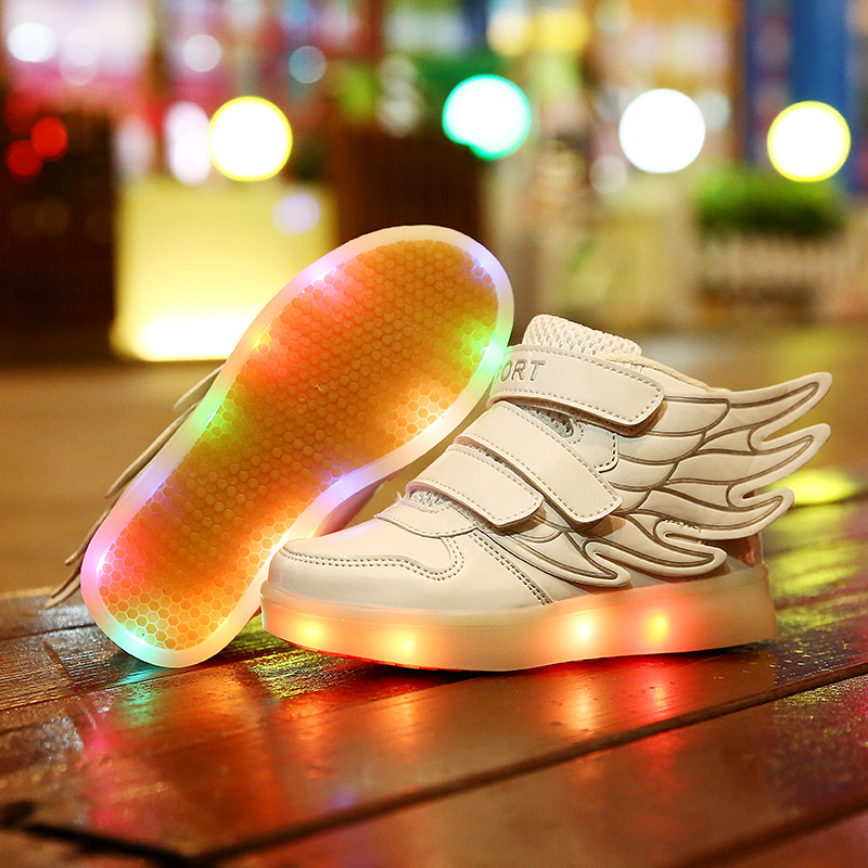 New Autumn Children Usb Charging Wing Shoes Kids Led Light Luminous Fashion Sneakers Baby Glowing Canvas For Boys And Girls 9161 joyyou brand usb children boys girls glowing luminous sneakers teenage baby kids shoes with light up led wing school footwear