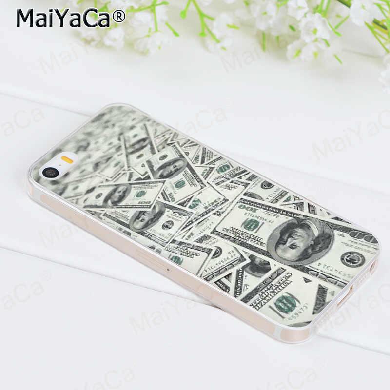 MaiYaCa degli stati uniti di Soldi 100 Dollari disegno Stampato Fresco Accessori Del Telefono per il Caso di iPhone 8 7 6 6S Plus X 10 5 5S SE 5C caso Coque