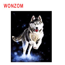 WONZOM Jumping Wolf Painting By Numbers Abstract Animal Oil Cuadros Decoracion Acrylic Paint On Canvas Modern Art Gift