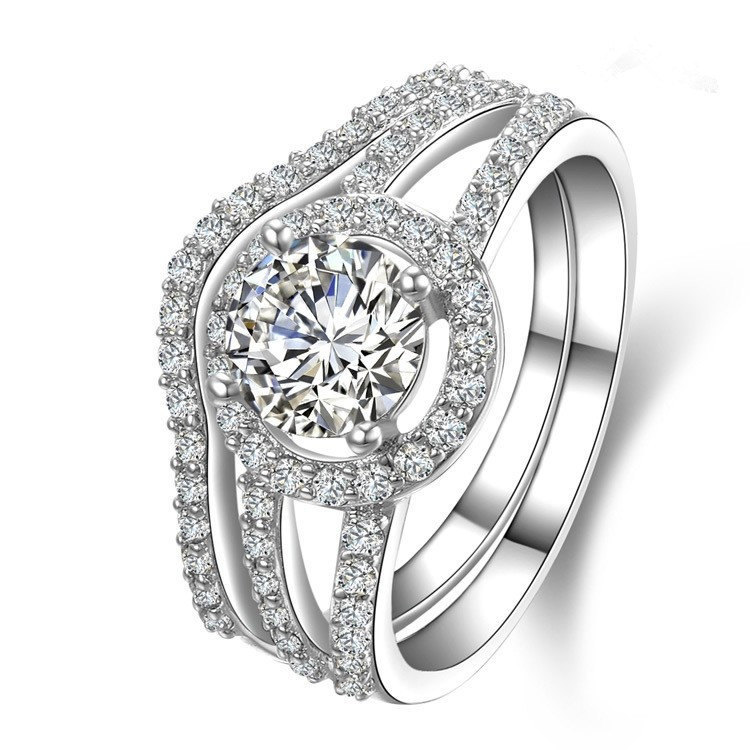 5b253746179 Real 18K 750 White Gold Bridal Sets for Marriage 1Ct Round Cut Simulate Diamond  Wedding Ring for Women Vintage Female Jewelry
