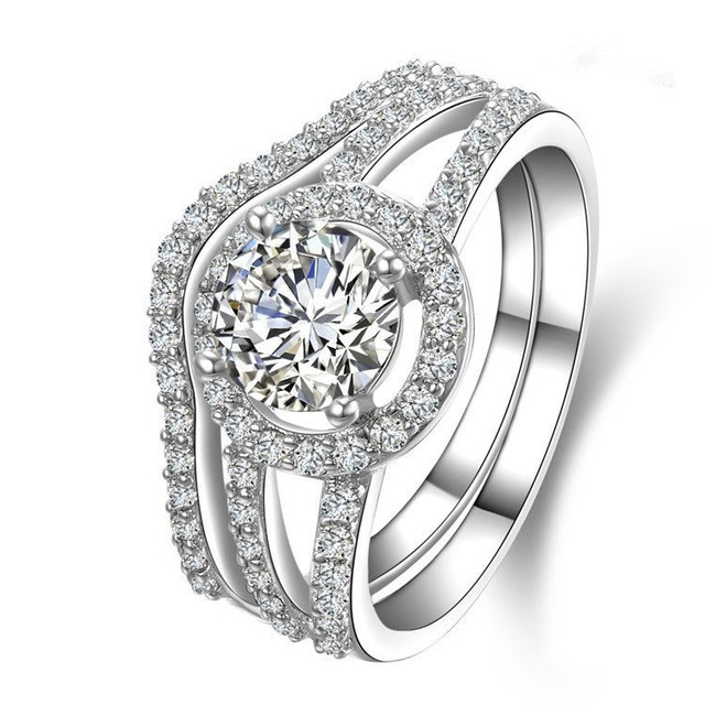 Real 18K 750 White Gold Bridal Sets For Marriage 1Ct Round Cut Simulate Diamond Wedding Ring
