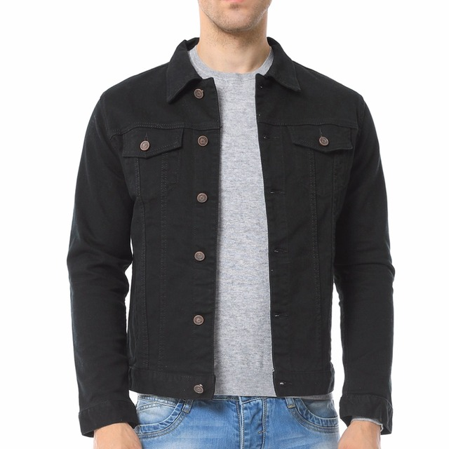 Moda para hombre Negro Azul blanco Denim chaqueta Casual
