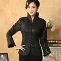 Новое Прибытие Черный Vintage Китайских женщин Шелковый Атлас Пальто Куртки Длинные Рукава Цветы Размер Sml XL XXL XXXL