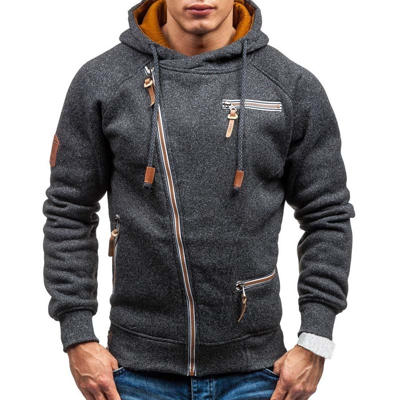 New Hoodie Men 2019 Spring Casual Solid Long Sleeve Mens Hoodies Sweatshirts Slim Zipper Hoody Sweatshirt Men Hooded Streetwear 1