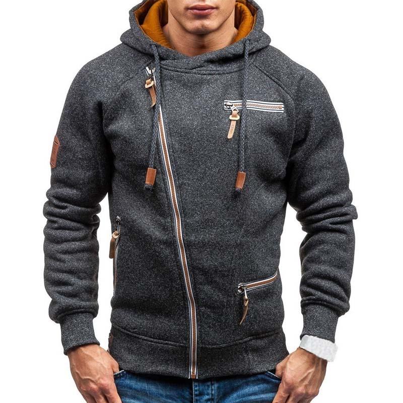 New Hoodie Men 2019 Spring Casual Solid Long Sleeve Mens Hoodies Sweatshirts Slim Zipper Hoody Sweatshirt