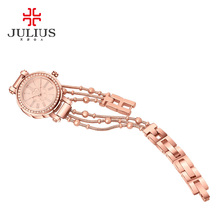 Top Julius Lady Women's Watch Japan Quartz Hours Fine Fashion Clock Beads Chain Bracelet Clover Business Girl Birthday Gift Box